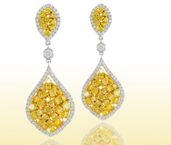 , 7.64cttw Diamond Earrings with Yellow and White Diamonds