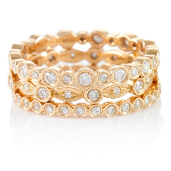 , Stackable Pink Gold 18K Eternity Bands
