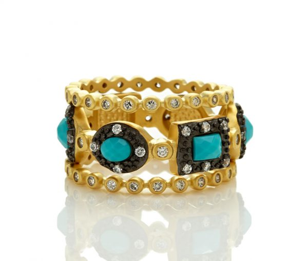 , Freida Rothman – Turquoise Harlequin Triple Stack Ring