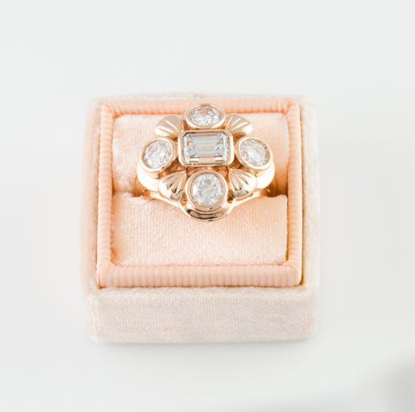 Diamond Rose Gold Dinner Ring, 2.56ctw Diamond Rose Gold Dinner Ring