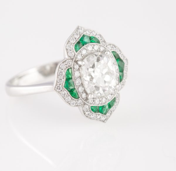 antique cushion diamond ring, 1.76 Antique Cushion Diamond Ring with Emeralds In Platinum
