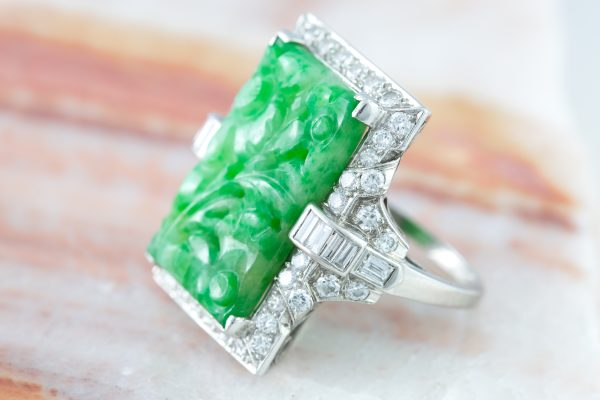 Vintage Jade and Diamond Ring in Platinum, Vintage Jade and Diamond Ring in Platinum