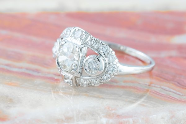 Vintage Three Stone Ring Platinum, Vintage Three Stone Ring Platinum