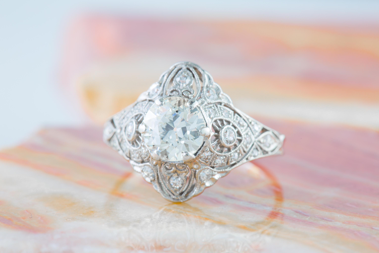 Miriams Jewelry Edwardian Diamond Ring In Platinum