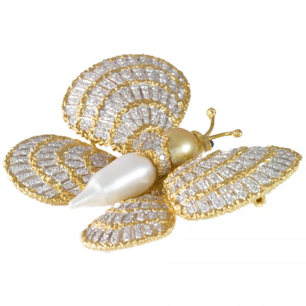 , Pearl Diamond Two Color Gold Butterfly Brooch