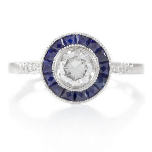 , 0.44 Carat Diamond Engagement Ring with Sapphire Halo