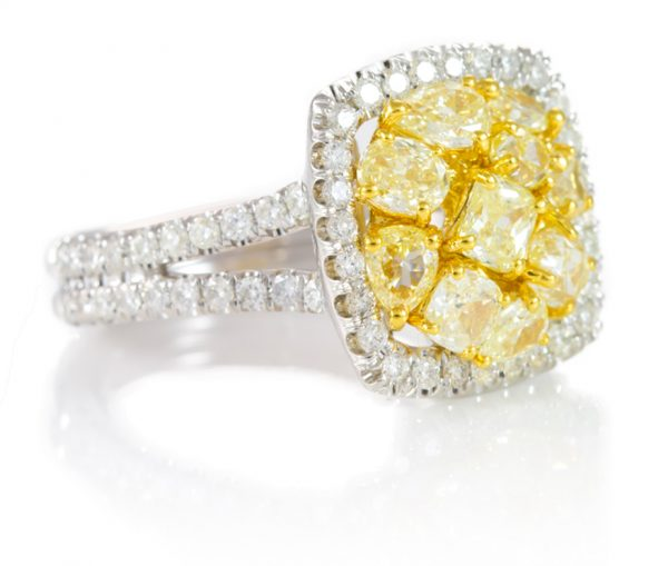 , 2.41cttw Natural Canary Yellow Cluster Ring