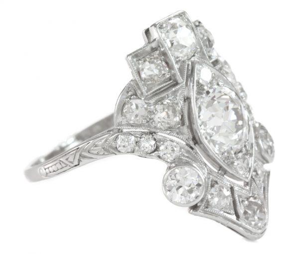 , 1920's Art Deco Diamond Platinum Ring