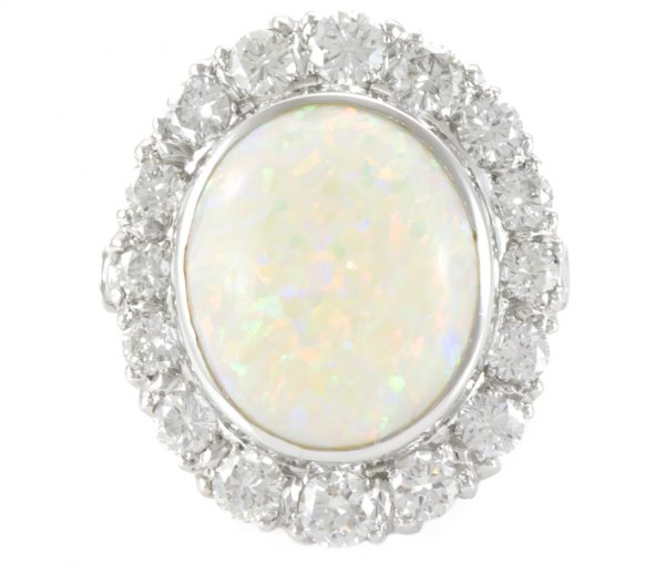 , Cabochon Opal and Diamond Platinum Ring