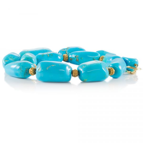 , 20th Century Turquoise Nugget Bead Gold Necklace