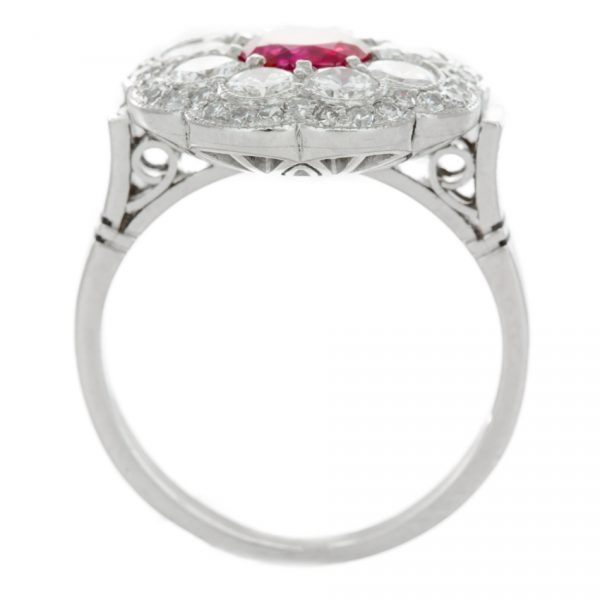 , Circa 1950's Art Deco Platinum Ruby and Diamond Ring