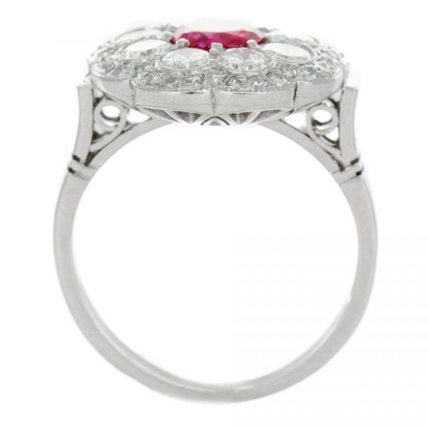 , Circa 1950's Art Deco Platinum Ruby and Diamond Ring