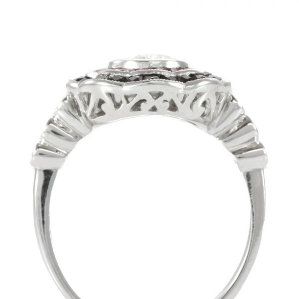 , Diamond and Ruby Cocktail Ring in Platinum