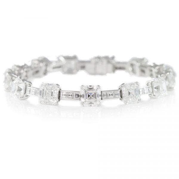 , 28.69 Carat Asscher GIA Cert Diamond Platinum Bracelet