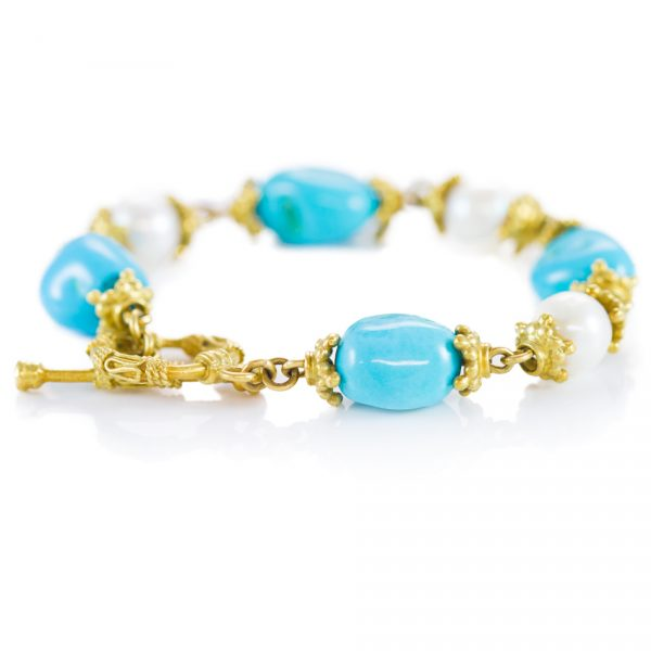 , Nugget Turquoise and Pearl Antique Bracelet