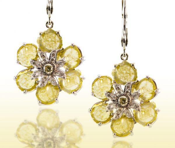 , 5.30CTTW Yellow Diamond Slice Flower Earrings