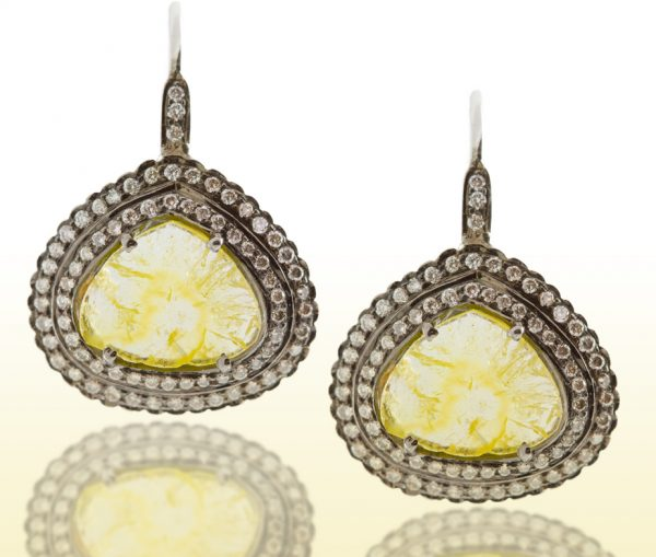 , 1.89CT Slice Yellow Diamond Earrings