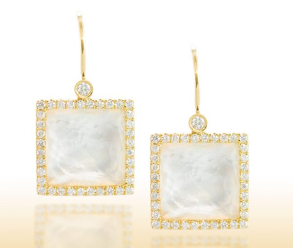 , White Topaz and Mother of Pearl Earrings in 18K Yellow Gold