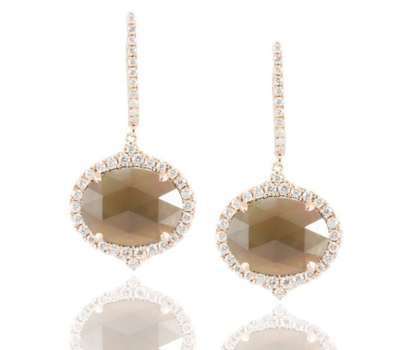 , Smoky Quartz and Mother of Pearl Earrings in 18K Rose Gold