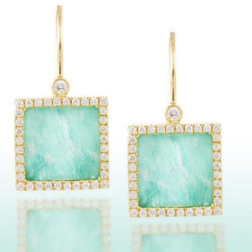 , Amazonite and White Topaz Diamond Earrings