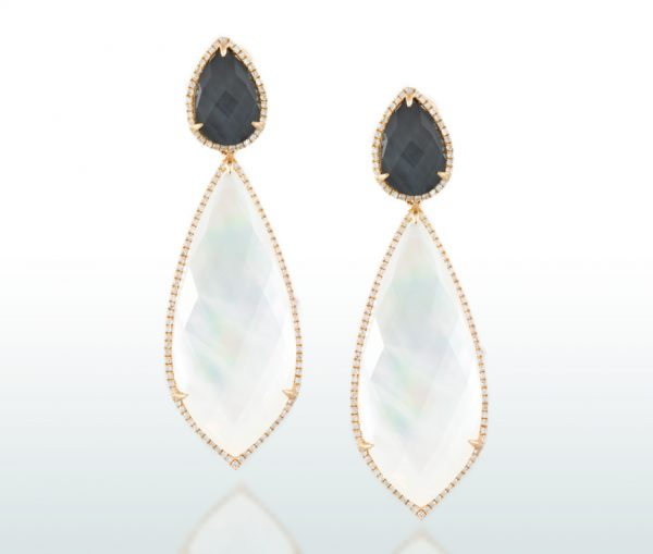 , White Topaz and Mother of Pearl Diamond Earrings
