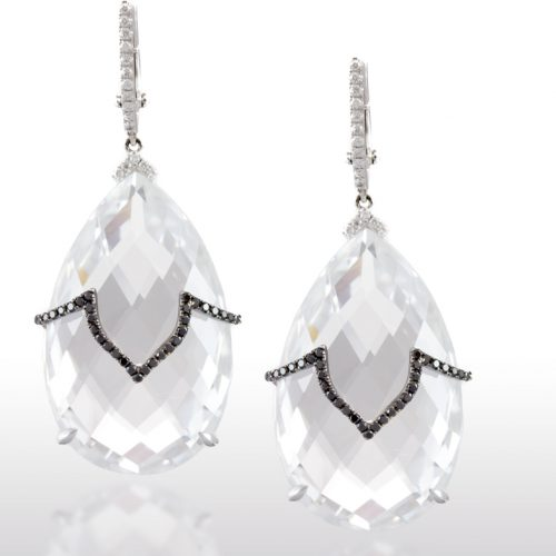 , Diamond Baguette Fan Earrings