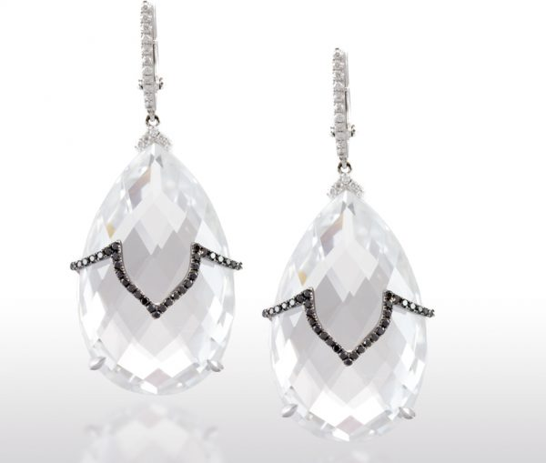 , Black Diamond and White Topaz Earrings