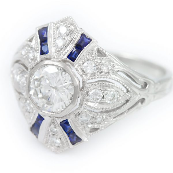 , Deco Diamond Ring with Sapphires