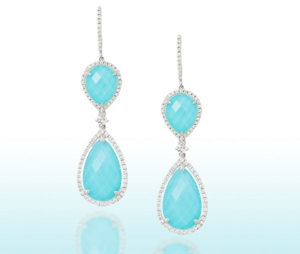, White Topaz and Turquoise Diamond Earrings