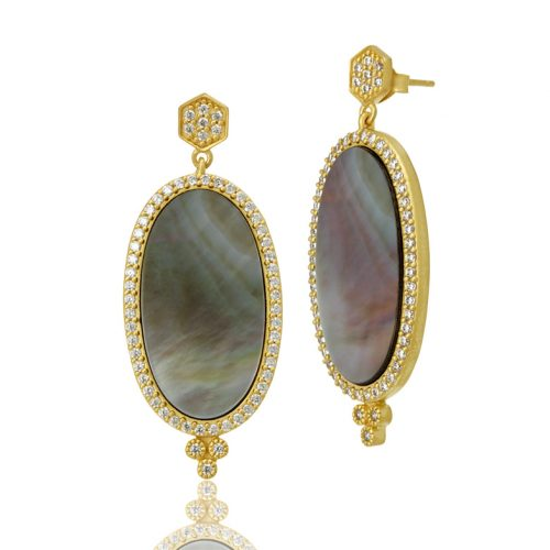 , Freida Rothman – Pave Framed Gray MOP Long Oval Slice Earrings