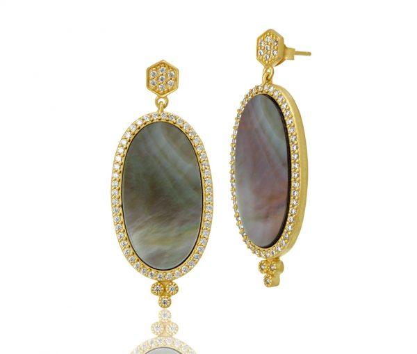 , Freida Rothman – Pave Framed Gray MOP Long Oval Slice Earrings