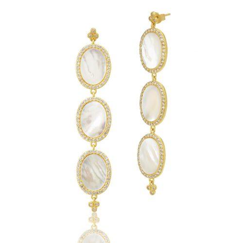 , Freida Rothman – Triple Oval Flat MOP Slice Earrings