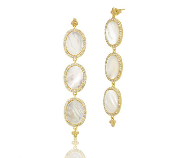 , Freida Rothman – Triple Oval Flat MOP Slice Earrings
