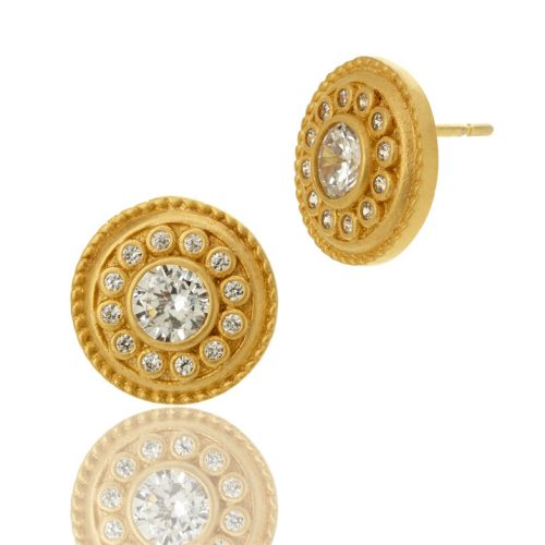 , Freida Rothman – Large Open Circle Square Points Earrings