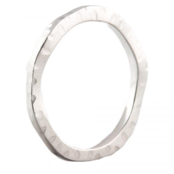 , Wavy White Gold Hammer and Satin Finish Ring