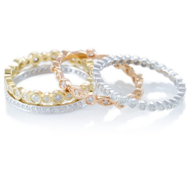 , Stackable Tri-color Bands 18K Gold