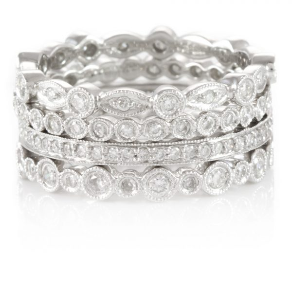 , Stackable 18K White Gold Eternity Bands