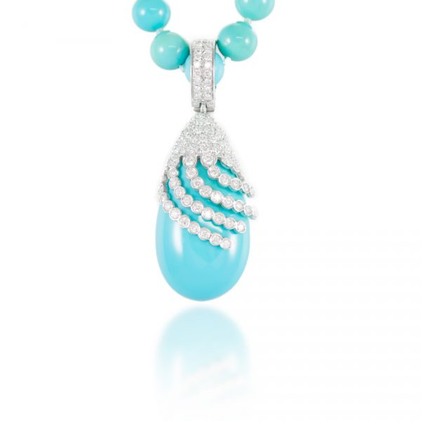, Turquoise Diamond Gold Beaded Necklace