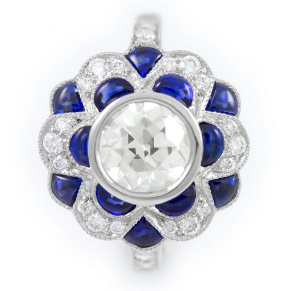 , Diamond Ring with Diamond and Sapphire Halo