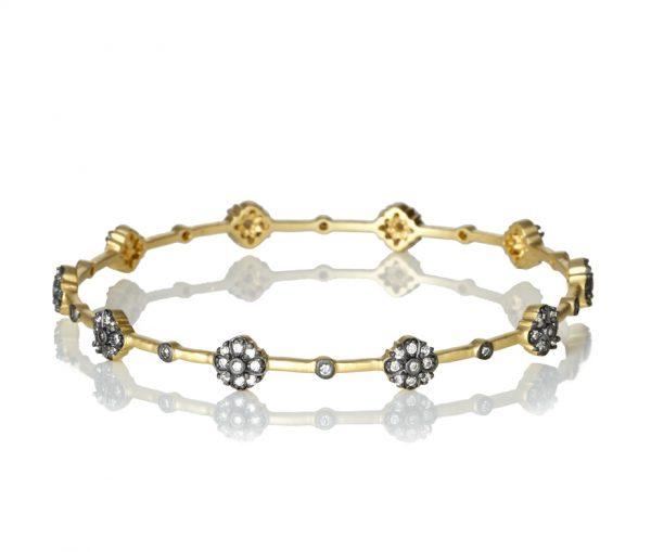 , Freida Rothman – Thin Flower Station Bangle Bracelet