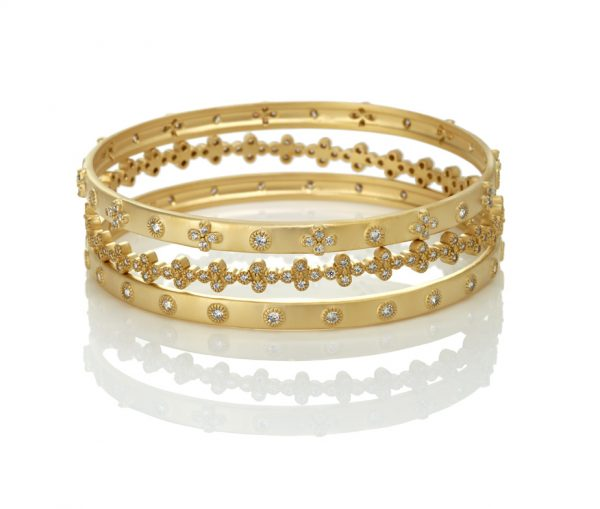 , Freida Rothman – Classic Stud/Clover 3 Stack Bangle Set