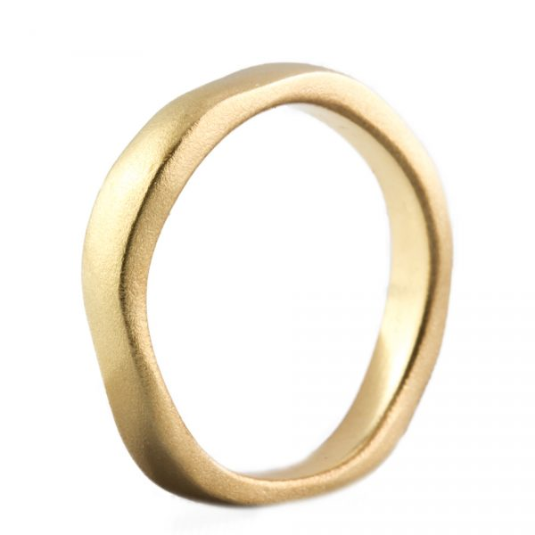 , Wavy Satin Finish Yellow Gold Band