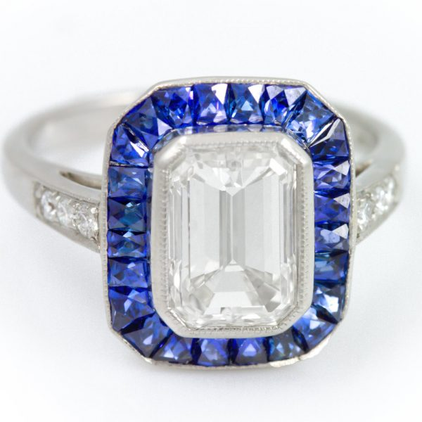 , Emerald Diamond Ring with Sapphire Halo