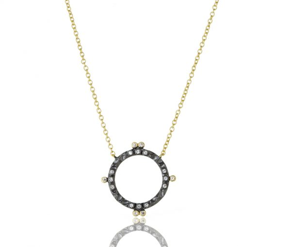 , Freida Rothman – Textured Open Circle Pendant Necklace