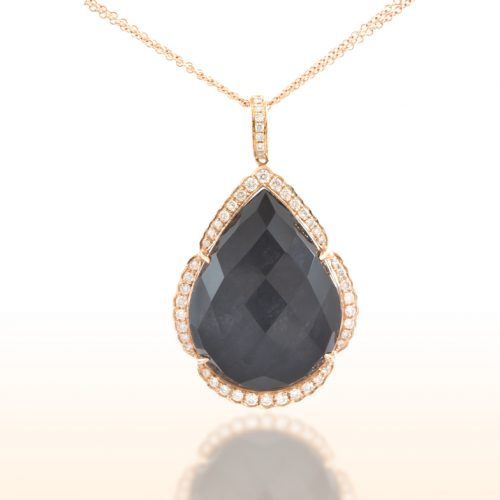 , Diamond Pendant with Hematite and Quartz 18K Rose Gold