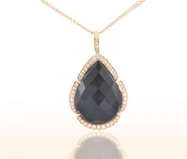 , Diamond Pendant with Hematite and Quartz 18K Rose Gold