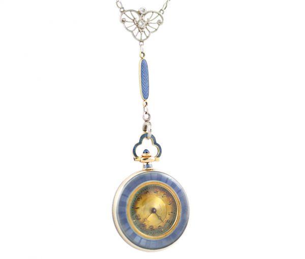 , Edwardian Necklace Enamel with Diamonds and Platinum
