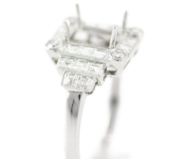 , 1.19CTTW Asscher Pave Diamond Engagement Ring in Platinum