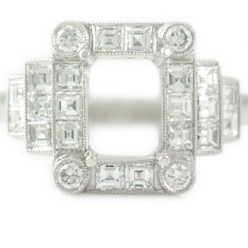 , 1.19CTTW Asscher Pave Diamond Engagement Ring in Platinum