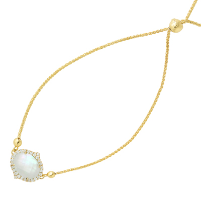 , White Orchid Mother of Pearl & Diamond Bracelet in 14K Yellow Gold